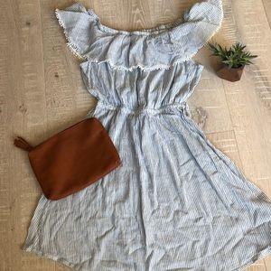 H&M L.O.G.G. Blue and White Striped Cotton Dress